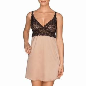 Prima Donna By Night zijden jurkje met zwart kant crème