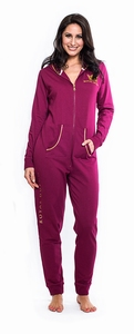 Royal Dutch onesie + capuchon in bordeaux sale maat XS