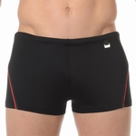 HOM sale swim shorts Sport black met rood biesje XL