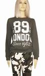 Sensi wear sale, hippe homewear sweater met tekst, army L/XL