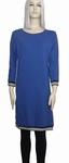 Sensi Wear sale homewear blauwe jurk met bies, maat L